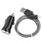 Car Charger w/ USB Male to Micro USB Male Knit Charging Data Cable for Samsung - Black + White