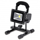 Rechargeable Portable 10W 900lm 6000K LED White Light Flood Lamp - Black (110~240V / DC 12V / 24V)