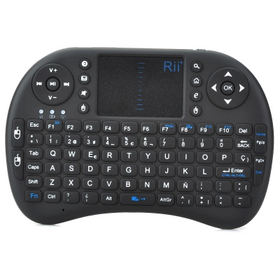 Rii RT-MWK08 Spanish Mini Wireless Mouse Keyboard Combo + Touch Pad  for Smart Android OS TV - Black