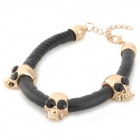 SHIYING C01135 Punk Style Skull Shaped Fashionable PU + Zinc Alloy Bracelet - Black + Golden