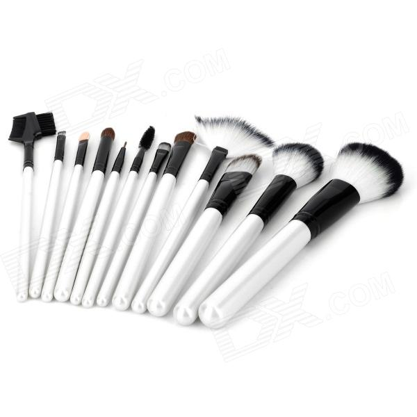 Professional 12-in-1 Cosmetic Makeup Brushes Set - Black + Silvery White high quality 18pcs set cosmetic makeup brush foundation powder eyeliner professional brushes tool with roll up leather case