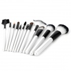 Professional 12-in-1 Cosmetic Makeup Brushes Set - Black + Silvery White