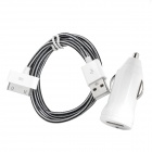 Car Charger w/ USB Male to 30 Pin Knit Charging Data Cable for iPhone 4 / 4S  - Black + White