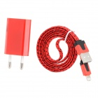 EU Plug Power Adapter + USB Male to 8pin Lightning Male Data & Charging Nylon Cable - Red + Black