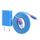 EU Plug Power Adapter + USB to 8pin Lightning Male Data & Charging Nylon Cable -Blue + Deep Pink