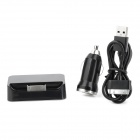 Car Charger + Charging Dock + USB Male to Apple 30pin Male Data & Charging Cable for iPhone 4- Black