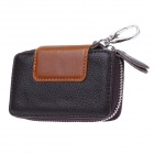 S002 Portable Head Layer Cowhide Durable Car Key Holder Case Bag - Black + Brown