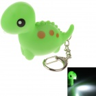 CS-008 Cute Dinosaur Style Sound & Light  LED White Light Keychain - Green (3 x AG10)