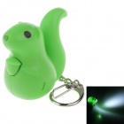 CS-009 Cute Squirrel Style Sound & Light  LED White Light Keychain - Green (3 x AG10)