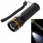 251 Mini 1-LED 3-Mode 240lm Convex Lens White Light Zooming Flashlight - Black +Yellow ( 3 x AAA)