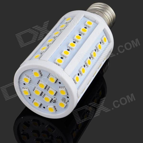 E27 10W 1000lm 3200K 60 SMD 5050 LED Warm White Light Bulb Lamp - blanco + plata (AC 85 ~ 265V)