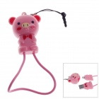 Cute Pig Style Micro USB to USB 2.0 Cable + 3.5mm Earphone Jack Anti-Dust Plug for Samsung - Pink
