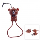 Cute Bear Style Micro USB to USB 2.0 Cable + 3.5mm Earphone Jack Anti-Dust Plug for Samsung - Brown