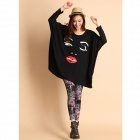 Lycra Batwing Sleeves T-shirt for Women - Black