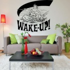 Aomei 0240 Wake Up Pattern PVC Wall Sticker - Black