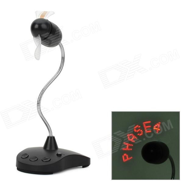 216-05 USB 2-Blade 1-Fan 7-LED Red Flashing Light Massage Fan - Black (3 x AAA)