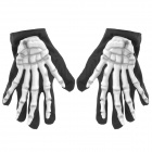 Halloween Costume Ball Skeleton Ghost Gloves - Black + White (Pair)