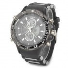 HPOLW Round Shaped Rubber Band Analog Digital Watch for Men - Black