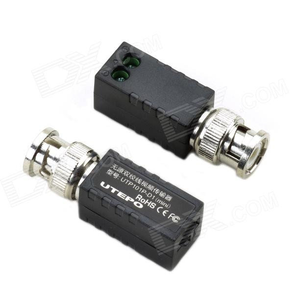 UTP UTP101P-D1(mini) Single Channel Passive Twisted Pair Video Transceiver - Black + Silver (2 PCS) 2 in 1 10ka bnc video signal 2pin power surge protection device black silver 12 24 220v