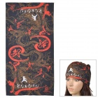 G-Z26 Kung Fu Pattern Outdoor Sports Seamless Head Scarf - Red + Black