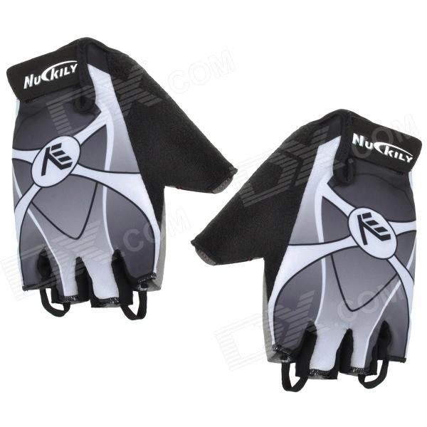 NUCKILY NS3553 Outdoor Mountaineer Half-Finger Gloves - Black + Grey + White (Size L / Pair) anti static elastic finger cots stalls yellow size l 50 pcs