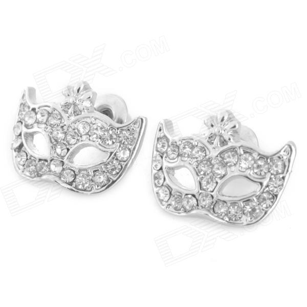SHIYING Bohemian Mask Style Rhinestone Zinc Alloy Earrings - Silver (Pair)