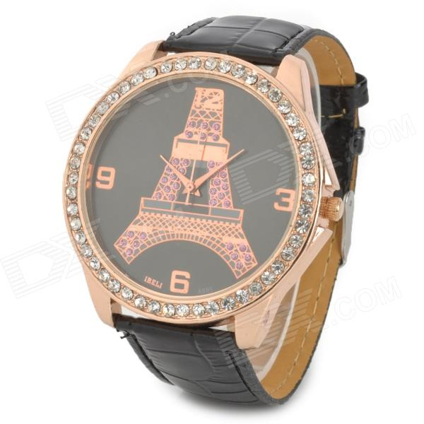 A685 Eiffel Tower Pattern Rhinestone Analog Quartz Wrist Watch - Black + Golden
