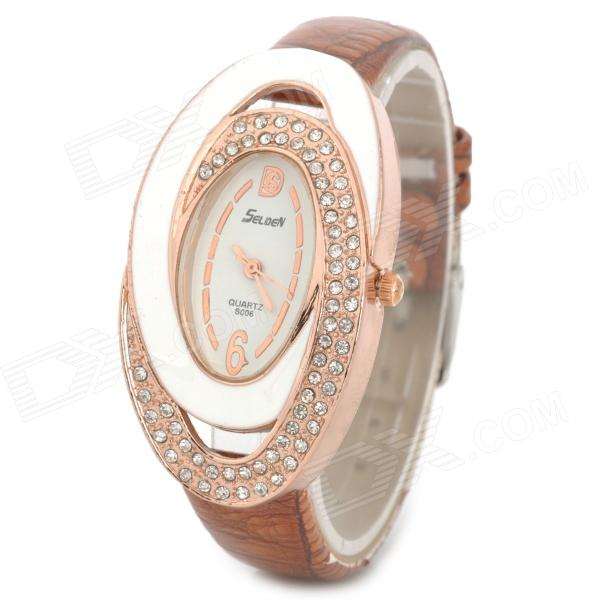 S006 Ellipse Dial PU Band Analog Quartz Wrist Watch for Women - Brown + White + Golden
