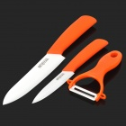 "Bestlead 46 Non-slip Handle 4"" / 6"" Zirconia Ceramics + Peeler Set - Orange + White"