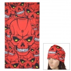 G-Z14 Skull Pattern Outdoor Sports Seamless Head Scarf - Red + Black