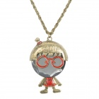 Men in Glasses Alloy Necklace - Bronze