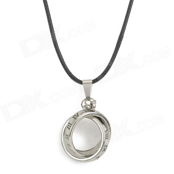 Titanium Steel Rings Necklace - Black + Silver