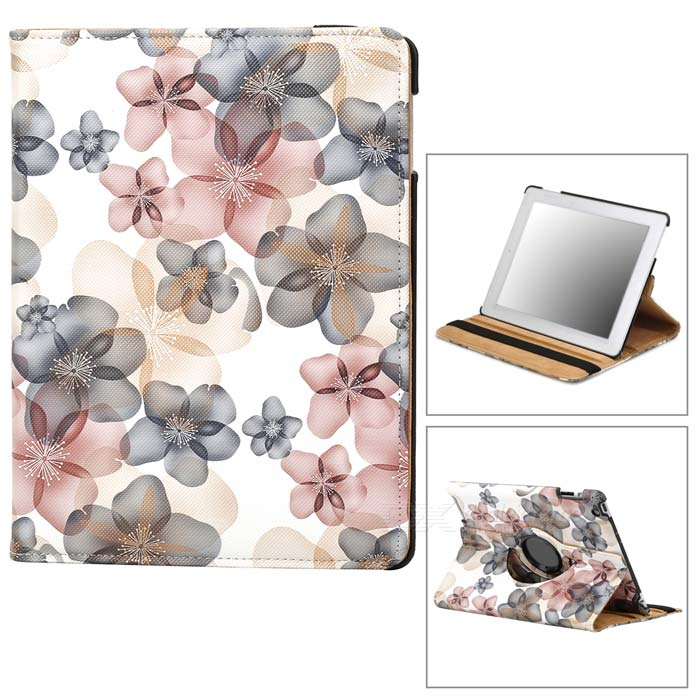 CT211002 Fashionable Floral Pattern 360' Rotate Back PU Leather Case for Ipad 2 / 3 / 4 - Multicolor 22030114m rotatable statue of liberty pattern pu leather case for ipad 2 3 4 multicolored