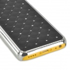 Gypsophila Pattern w/ Rhinestones Protective Plastic Back Case for Iphone 5C - Black