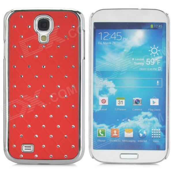 ATS868 Bling Crystal Hard Back Case for Samsung Galaxy S4 i9500 - Red + Silver