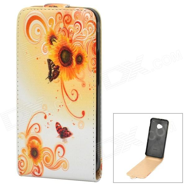 Stylish Butterfly Flower Pattern Protective PU Leather Case for HTC One M7 - White + Orange подвеска серебряная 5306370