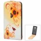 Stylish Butterfly Flower Pattern Protective PU Leather Case for HTC One M7 - White + Orange