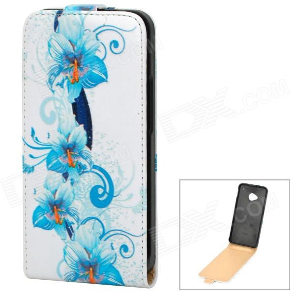 Stylish Flower Pattern Protective PU Leather Case for HTC One M7 - White + Blue