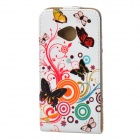 Stylish Butterfly Flower Pattern PU Leather Case for HTC One M7 - Multicolored