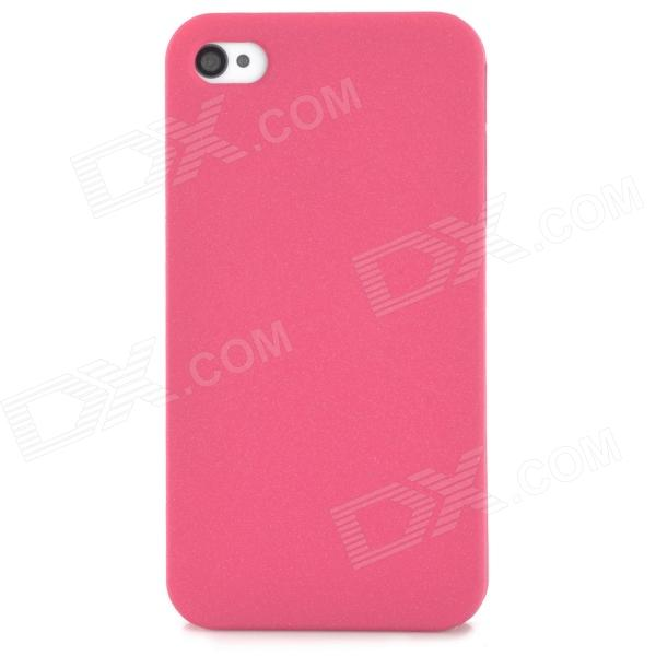 Protective Plastic Back Case for Iphone 4 / 4S - Deep Pink silk style protective pu leather plastic case for iphone 4 4s deep pink
