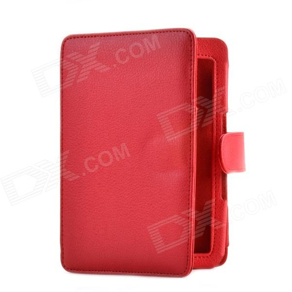 Lichee Pattern Protective PU Leather Case for Amazon Kindle 4 / 5 - Red