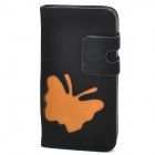 Simple Butterfly Pattern Flip-open PU Leather Case w/ Holder + Card Slot for Iphone 4S / 4 - Black