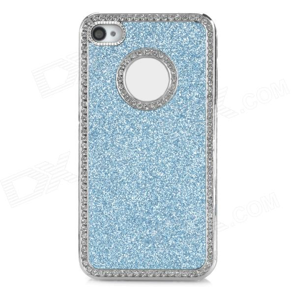Protective Shining Glitter ABS Back Case for Iphone 4 / 4S - Silver + Blue cartoon pattern matte protective abs back case for iphone 4 4s blue