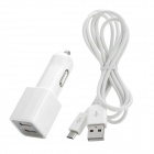 Dual USB Output Car Charger + Micro USB Data Cable for Samsung Galaxy Tab3 / P5200 / P5210 / P3200