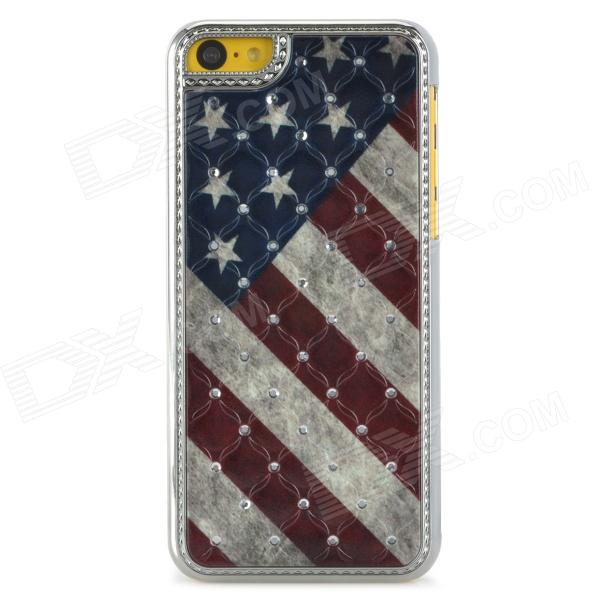 US Flag Pattern w/ Rhinestones Protective Plastic Back Case for Iphone 5C - Multicolored цена и фото