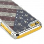 US Flag Pattern w/ Rhinestones Protective Plastic Back Case for Iphone 5C - Multicolored