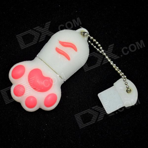 Cat Paw Style USB 2.0 Flash Drive Disk - White + Red (16GB)