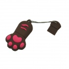 Cat Paw Style USB 2.0 Flash Drive Disk - Brown + Red (16GB)
