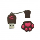Cat Paw Style USB 2.0 Flash Disk Drive - Brown + Red (16GB)
