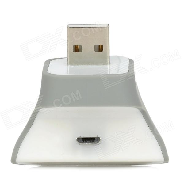 Mini Micro USB Male to USB Male Charging Station Holder for Samsung / HTC + More - White + Gray